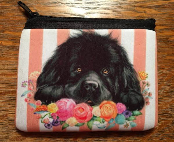 Coin Purse depicting a Newfie dog resting on flowers