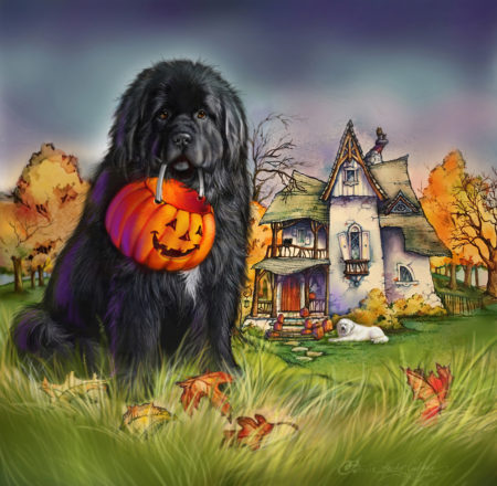 Newfie and the Halloween house