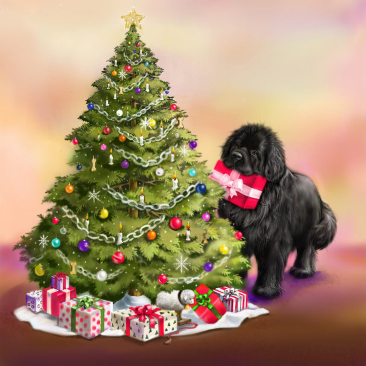 Newfie and Christmas tree